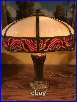 Parker Antique Arts Crafts Mission Slag Glass Bradley Hubbard Handel Era Lamp NR