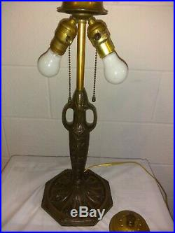 Pittsburgh reverse painted moonlight lamp- Handel Tiffany Jefferson arts & craft
