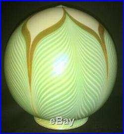 Quezal Art Glass Lamp Globe Shade Pulled Feather Iridescent Calcite Handel