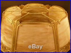 RARE 1900 Art Nouveau Torchiere 6 Curved Bent Panel Slag Glass Light Lamp Shade