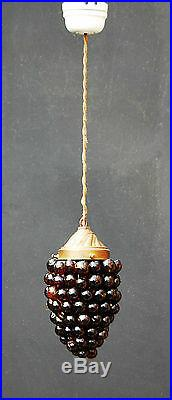 RARE ANTIQUE ART NOUVEAU ceiling LAMP WITH CZECH GLASS GRAPE French chandelier