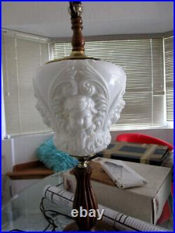 RARE ANTIQUE CHERUB ANGEL Milk GLASS LAMP ART NOUVEAU Figural Sculpture VTG