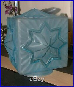 RARE BLUE STAR EMBOSSED GLASS ART DECO LAMP LAMPE SHADE for LAMP OR CEILING