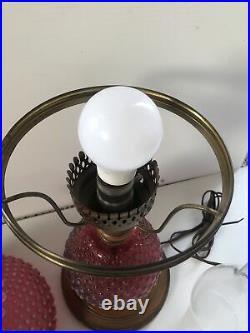 RARE Fenton Glass Cranberry Opalescent Hobnail Lamp