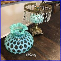 RARE Fenton Glass Persian Turquoise Blue Coin Dot Parlor Lamp Opalescent WORKS