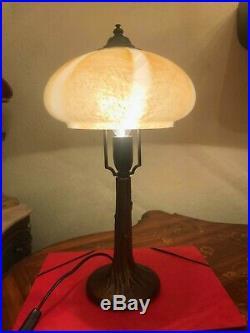 RARE Italian Elegant Art Nouveau Brass Glass Table Lamp