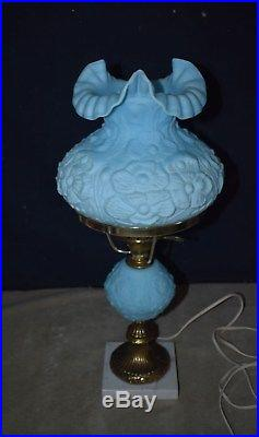 RARE VINTAGE FENTON BLUE SATIN POPPY LAMP WithMARBLE BASE CLEAN
