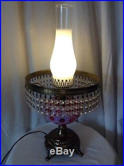 RARE VTG FENTON ART GLASS CRANBERRY OPALESCENT COIN DOT LAMP With PRISMS 1 OF 2