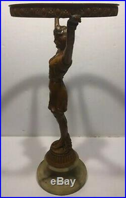 RARE Vintage Art Deco Spelter Metal Figural Lady Base For Glass Fruit Lamp