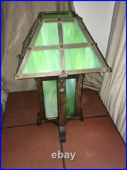 RARE- Vintage Green Slag Glass Arts & Crafts/Mission Lamp Circa early 1900's