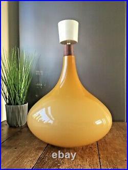 Rare 1960's Holmegaard Amber Yellow Glass & Teak Ceiling Light Onion Lamp Shade