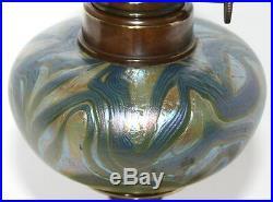Rare Antique Art Nouveau Loetz Austria Art Glass Brass Oil Lamp Jugendstil Lötz