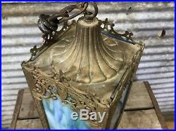 Rare Antique Ornate Art Nouveau Stained Glass Hanging Pendant Lamp Entry Hallway
