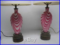 Rare Antique Pair Fenton Drag Loop Cranberry White Art Glass Table Lamps