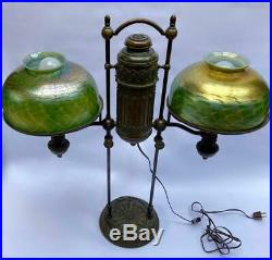 Rare Antique Tiffany Studios Old Art Glass Double Student Bronze Wired Oil Lamp