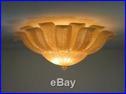Rare Barovier Flower Ceiling Lamp Murano Art Glas golden powder