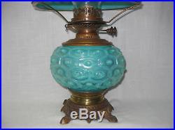 Rare Blue Opalescent Art Glass Gwtw Mikado Design