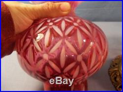 Rare Fenton Cranberry Opalescent Glass DAISY OPTIC Electric Table Lamp CLEARANCE