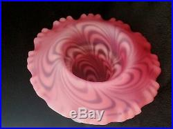 Rare Fenton Feather Swirl Cranberry Satin Opalescent Fairy Lamp Light One Piece