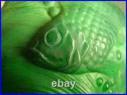 Rare Ingrid Schlevogt Czech Malachite Glass Gold Fish Mini Oil Lamp Base Signed
