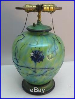 Rare & Large PALLME KONIG Art Nouveau Glass Lamp c. 1910 Bohemian loetz vase