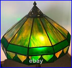 Rare Original Art Nouveau Handel Leaded Glass Lamp With Bronze Base Marked