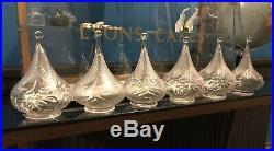 Rare Set of 6 Art Nouveau Powell Whitefriars Glass Tear Drop Lamp Shades BENSON