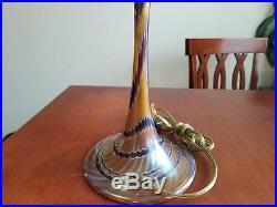 Rare Signed Joe Clearman 1988 Brown Hand Blown Art Glass Table Lamp 23 Tall Euc