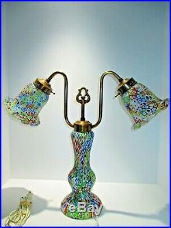 Rare Venetian Fratelli Toso Millefiori Lamp Murano Italian Art Glass Large