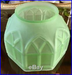 Rare Vintage Art Deco Green Uranium Vaseline Glass Lamp Shade