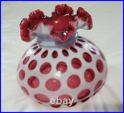 Rare Vintage Clean Fenton Cranberry Opalescent Coin Dot Ruffled Lamp Shade 7