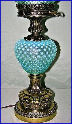 Rare Vintage Fenton Art Glass Gwtw Blue Opalescent Hobnail Lamp