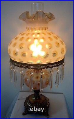 Rare Vintage Fenton Art Glass Honeysuckle Opalescent Coin Dot Lamp With Prisms