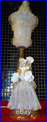 Rare Vintage Murano Venetian Art Glass Courtesan Couple Table Lamp Toffolo 21