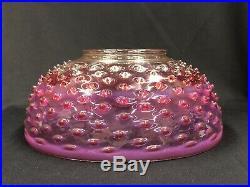 Rare c. 1880s Rubina Plum Opalescent Art Glass 14 inch Hanging Oil Lamp Shade NR
