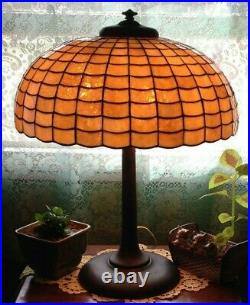 Rare colonial art glass Chicago leaded glass lamp Handel Tiffany arts crafts e