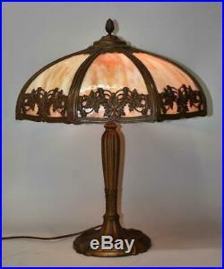 Royal Art Glass Caramel Slag Bent Panel Table Lamp #810 18 Shade