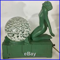 SALE Frankart Art Deco Green Nude Kneeling Woman Lamp W Glass Ball Sphere