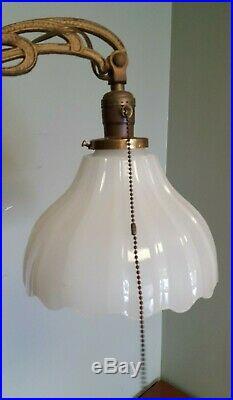 SPECTACULAR 60 Art Nouveau Deco 1920's Houze Jadeite & Uranium Glass Floor Lamp