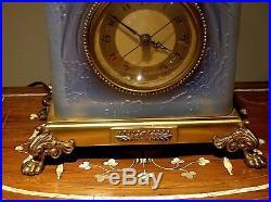 Sabino Glass Art Deco Clock/night Lamp Love Birds Hammond Synchronous Movement