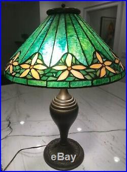 Salem Brothers Arts Craft Mission Leaded Glass Bradley/Hubbard Era Lamp 23