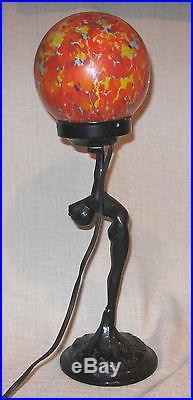 Sarsaparilla Art Deco Lamp with Nude Holding Czech End of Glass Globe