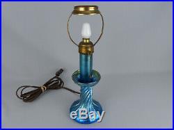 Scarce L C T Tiffany Favrile Blue Art Glass Candle Stick Lamp Base ca. 1910