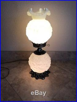 Scarce VTG Fenton VASELINE Custard GWTW Hurricane Lamp 24in. Raised Poppy. EUC