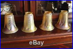 Set 4 Art Glass Shade Signed By Quezal Pulled Feather Design Lamp Shade Steuben