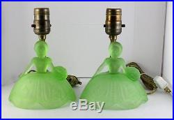 Set Frosted Green Uranium Depression Glass Table Vaseline Lamp VTG Art Deco Lady