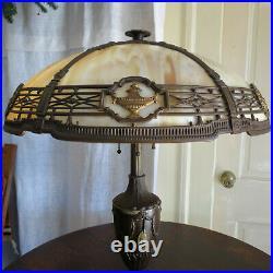 Signed Antique Bradley Hubbard Arts & Crafts Era Slag Glass Lamp 3 Socket B&H