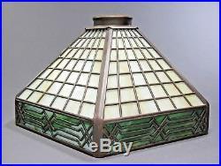 Signed HANDEL Six Panel Geometric Slag Glass Lamp Shade ca. 1920s Arts & Crafts