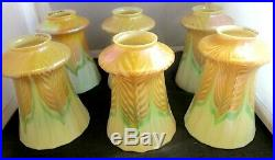 Six Gorgeous Matching Pulled Feather Iridescent Quezal Art Glass Lamp Shades
