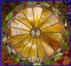 Slag leaded Glass Lamp Antique Empire Handel Tiffany arts & crafts Victorian